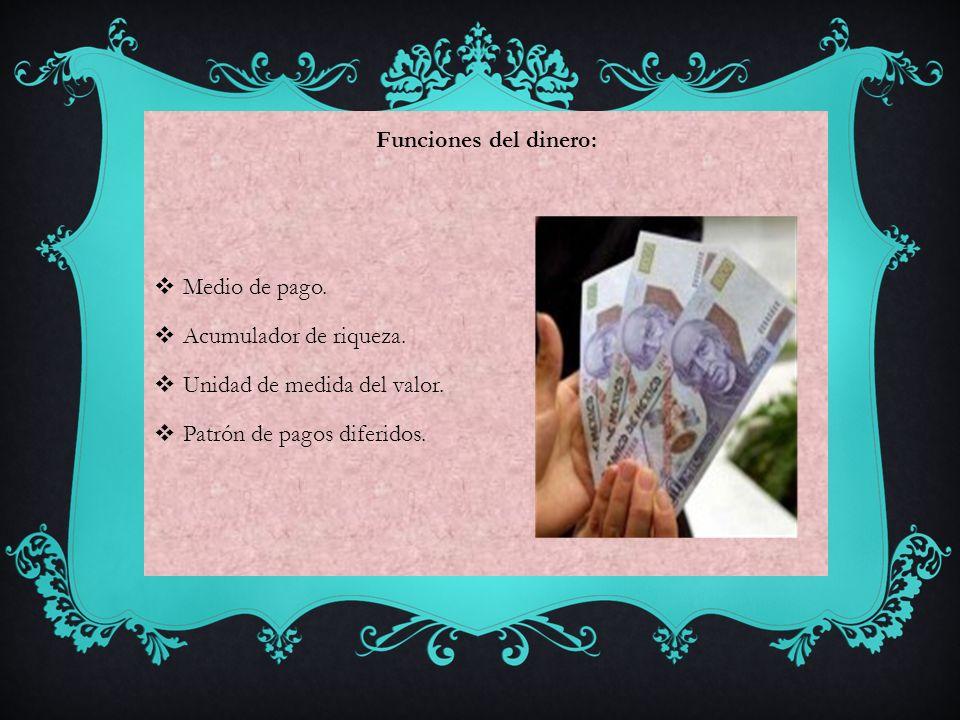 Funciones del dinero: Medio de pago. Acumulador de riqueza. Unidad de medida del valor. Patrón de pagos diferidos.
