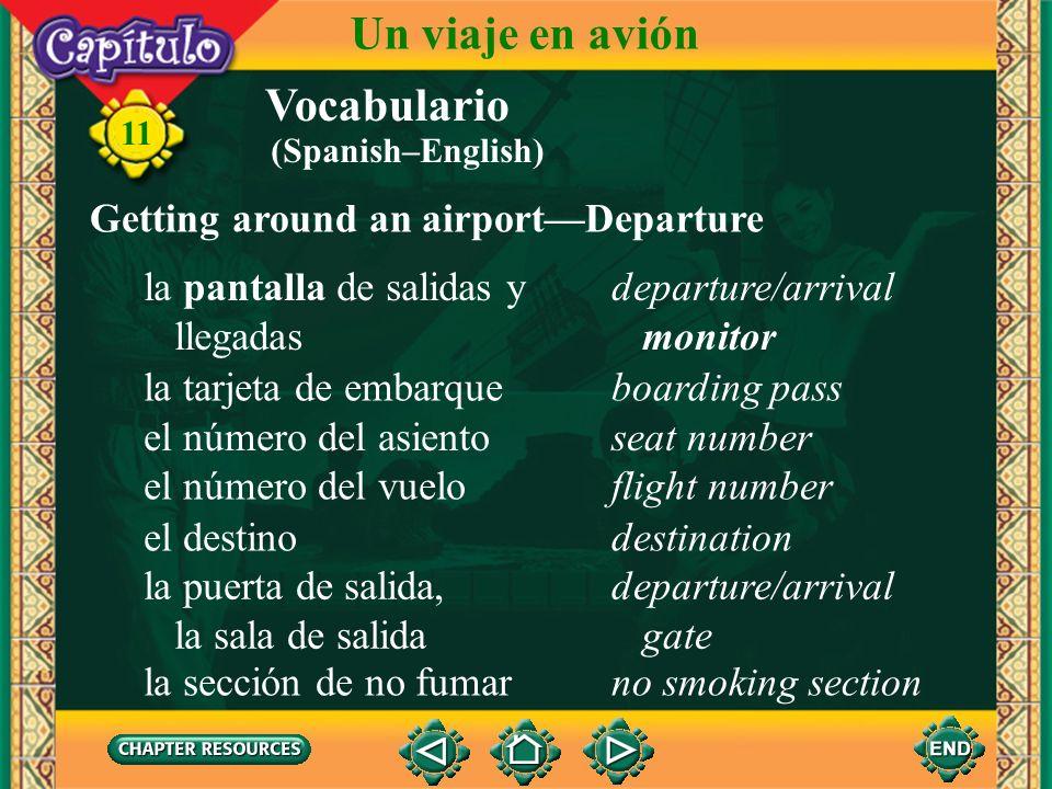 Antes del vuelo Un viaje en avión 11 La agente revisa el pasaporte y el boleto.