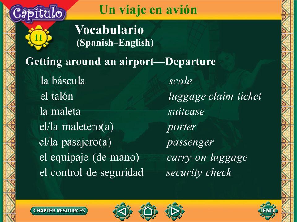 Antes del vuelo Un viaje en avión 11 la puerta de salida el número del vuelo la tarjeta de embarque el destino la sección de no fumar el número del asiento