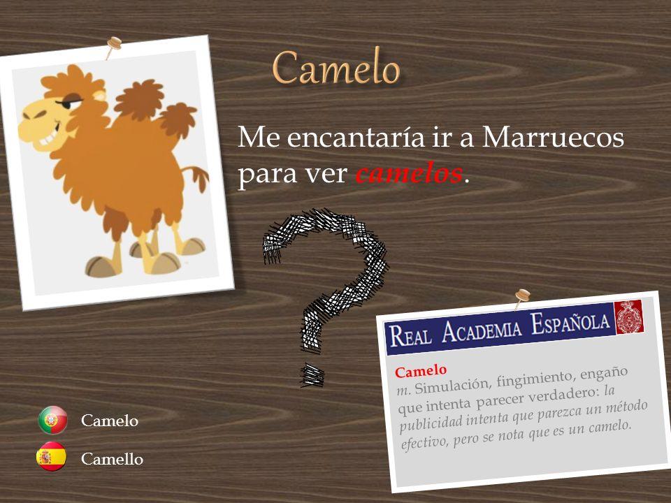 Me encantaría ir a Marruecos para ver camelos. Camello Camelo m. Simulación, fingimiento, engaño que intenta parecer verdadero: la publicidad intenta
