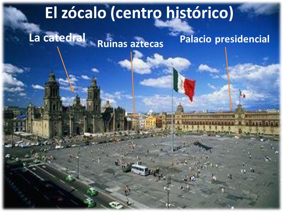 El zócalo (centro histórico) La catedral Palacio presidencial Ruinas aztecas