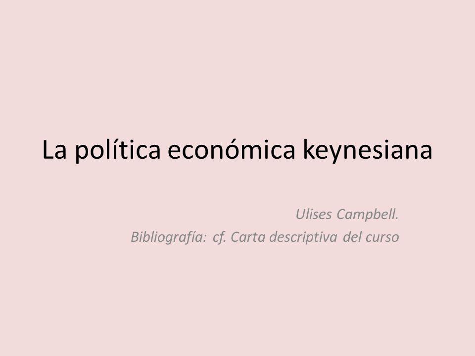La política económica keynesiana Ulises Campbell. Bibliografía: cf. Carta descriptiva del curso