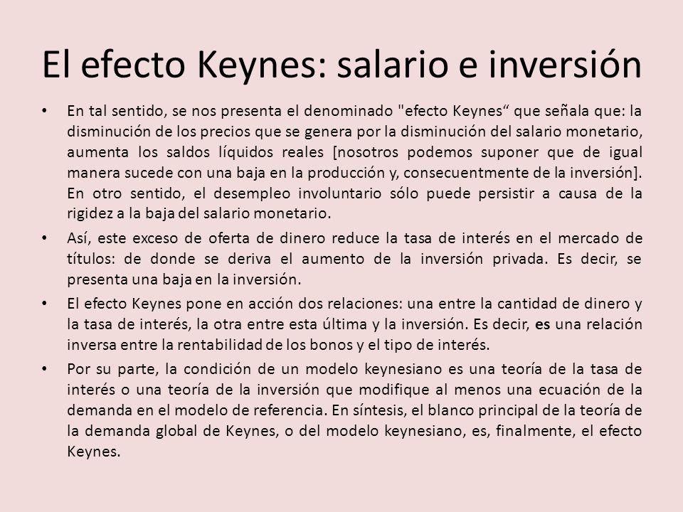 El efecto Keynes: salario e inversión En tal sentido, se nos presenta el denominado efecto Keynes que señala que: la disminución de los precios que se genera por la disminución del salario monetario, aumenta los saldos líquidos reales [nosotros podemos suponer que de igual manera sucede con una baja en la producción y, consecuentmente de la inversión].