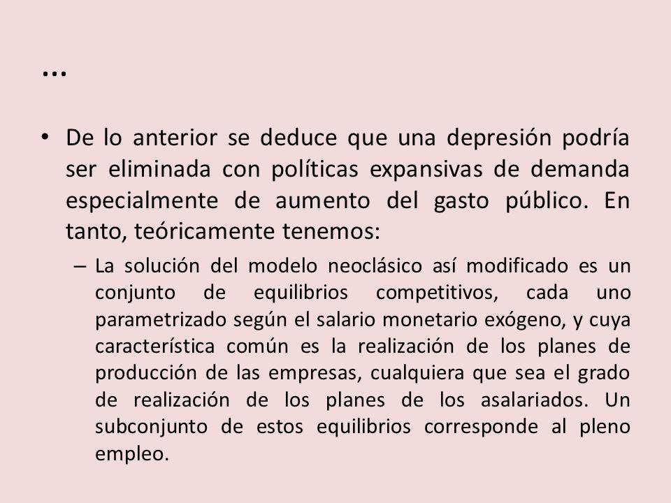 … De lo anterior se deduce que una depresión podría ser eliminada con políticas expansivas de demanda especialmente de aumento del gasto público. En t