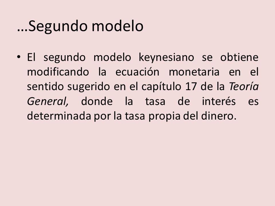 …Segundo modelo El segundo modelo keynesiano se obtiene modificando la ecuación monetaria en el sentido sugerido en el capítulo 17 de la Teoría General, donde la tasa de interés es determinada por la tasa propia del dinero.