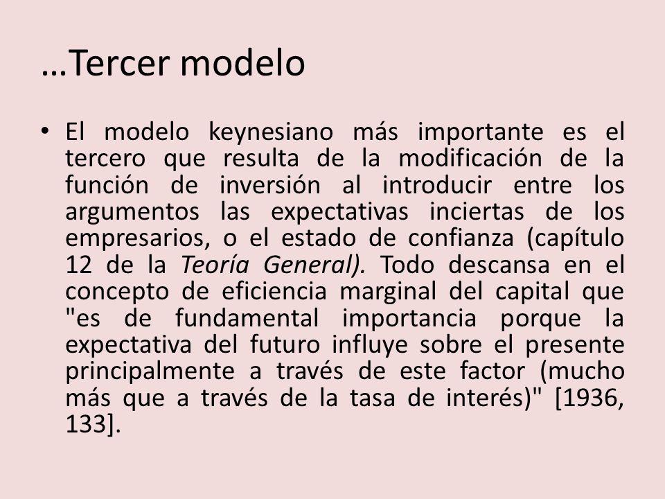 …Tercer modelo El modelo keynesiano más importante es el tercero que resulta de la modificación de la función de inversión al introducir entre los argumentos las expectativas inciertas de los empresarios, o el estado de confianza (capítulo 12 de la Teoría General).