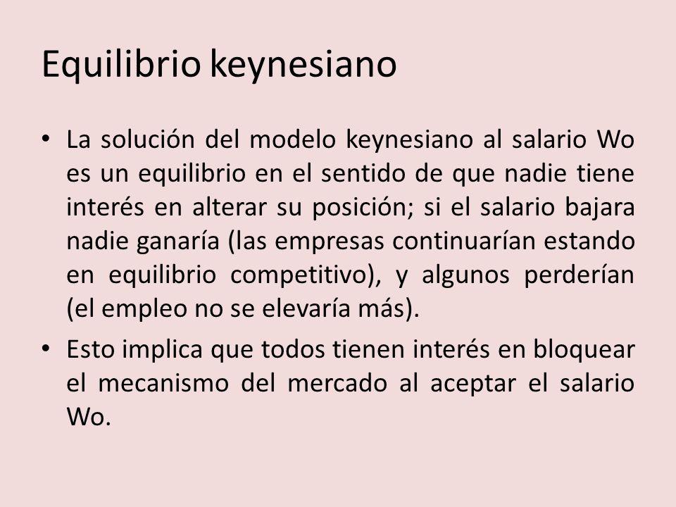 Equilibrio keynesiano La solución del modelo keynesiano al salario Wo es un equilibrio en el sentido de que nadie tiene interés en alterar su posición; si el salario bajara nadie ganaría (las empresas continuarían estando en equilibrio competitivo), y algunos perderían (el empleo no se elevaría más).