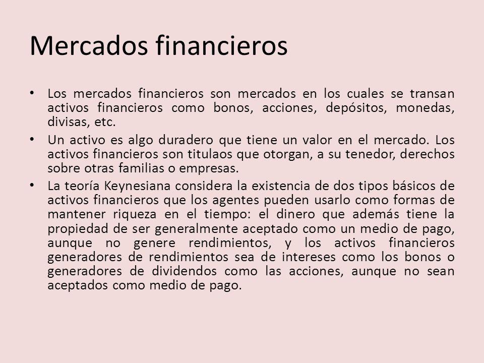 Mercados financieros Los mercados financieros son mercados en los cuales se transan activos financieros como bonos, acciones, depósitos, monedas, divisas, etc.