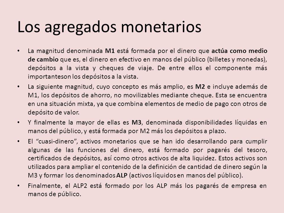 Los agregados monetarios La magnitud denominada M1 está formada por el dinero que actúa como medio de cambio que es, el dinero en efectivo en manos del público (billetes y monedas), depósitos a la vista y cheques de viaje.