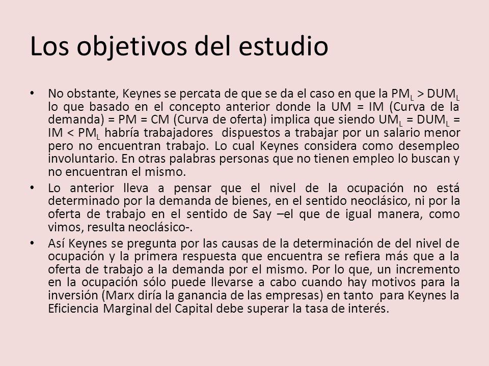 Los objetivos del estudio No obstante, Keynes se percata de que se da el caso en que la PM L > DUM L lo que basado en el concepto anterior donde la UM = IM (Curva de la demanda) = PM = CM (Curva de oferta) implica que siendo UM L = DUM L = IM < PM L habría trabajadores dispuestos a trabajar por un salario menor pero no encuentran trabajo.