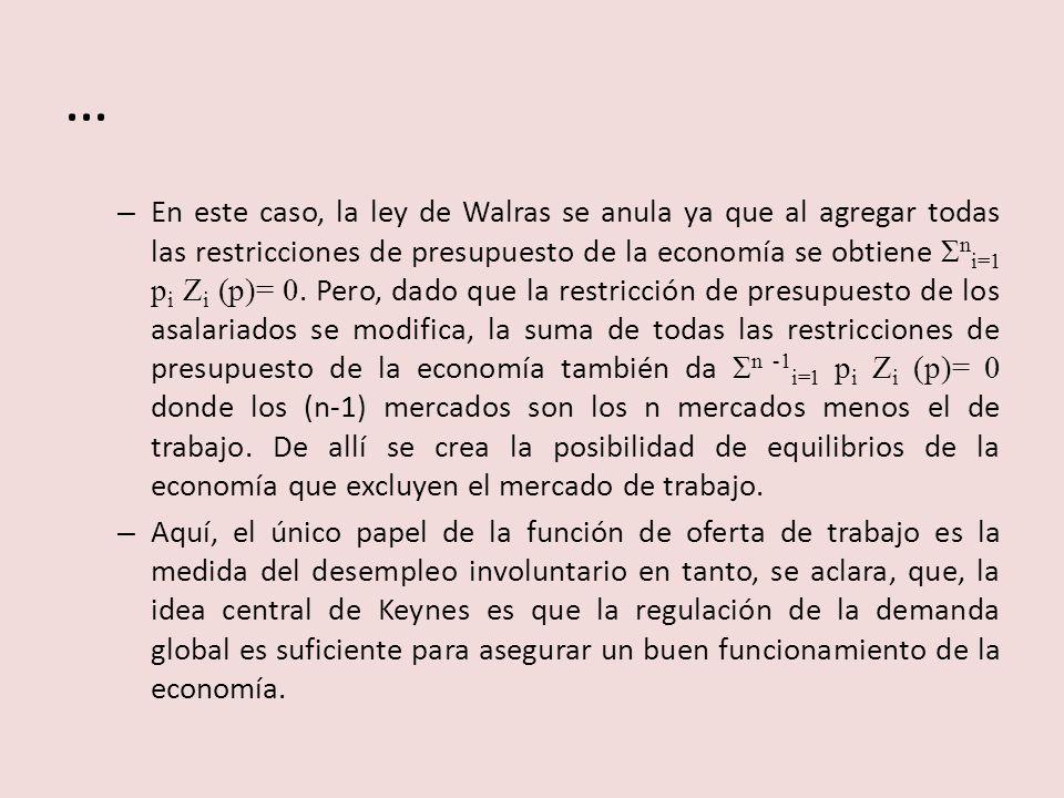 … – En este caso, la ley de Walras se anula ya que al agregar todas las restricciones de presupuesto de la economía se obtiene Σ n i=1 p i Z i (p)= 0.