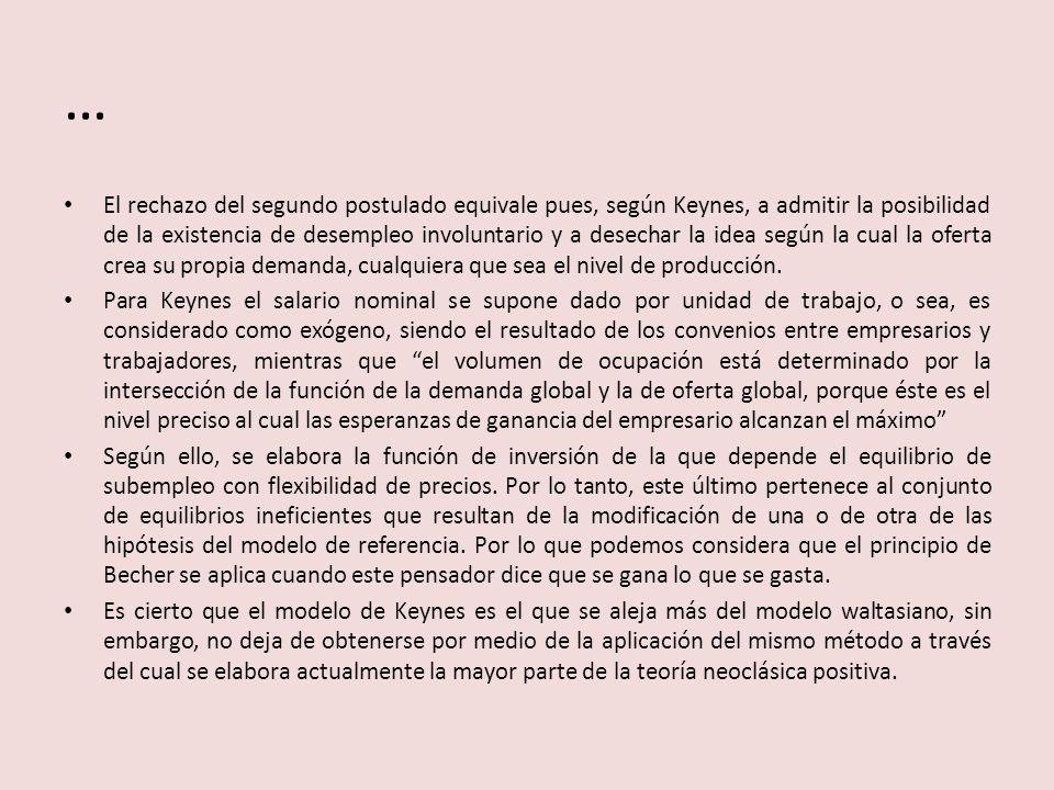 … El rechazo del segundo postulado equivale pues, según Keynes, a admitir la posibilidad de la existencia de desempleo involuntario y a desechar la id