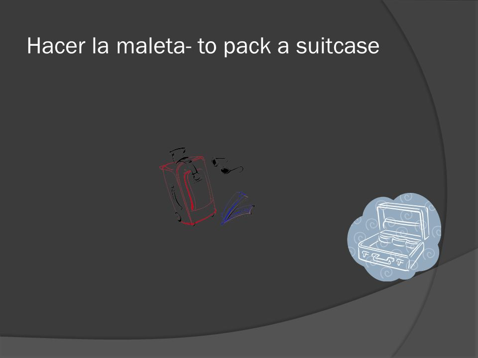 Hacer la maleta- to pack a suitcase