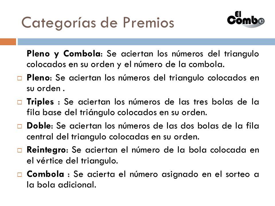 Categorías de Premios Pleno y Combola: Se aciertan los números del triangulo colocados en su orden y el número de la combola. Pleno: Se aciertan los n