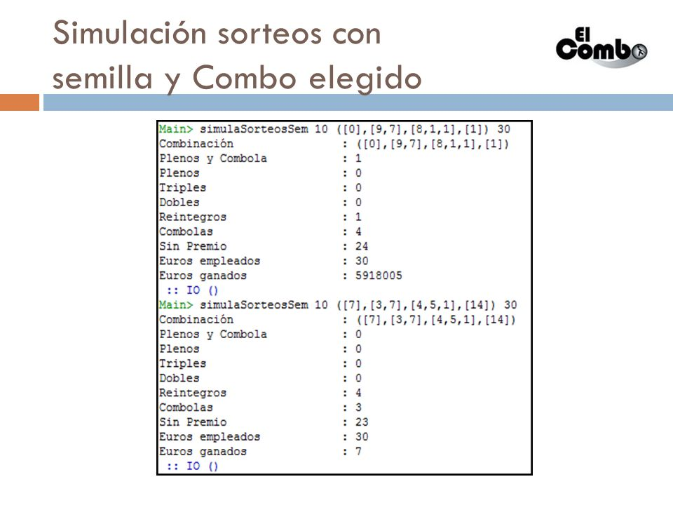 Simulación sorteos con semillas y Combo automático