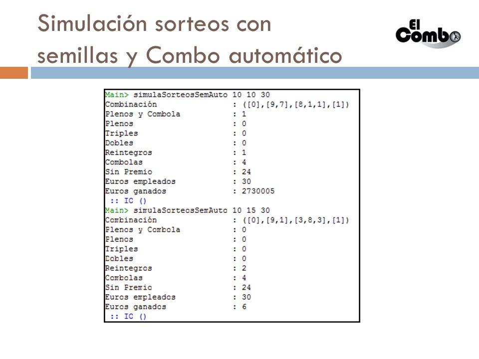 Simulación sorteos con semillas y Combos diferentes