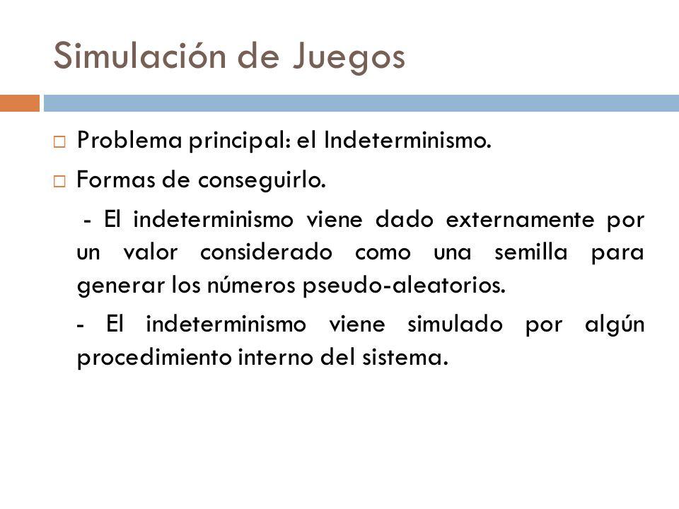 Simulación de Juegos Problema principal: el Indeterminismo. Formas de conseguirlo. - El indeterminismo viene dado externamente por un valor considerad