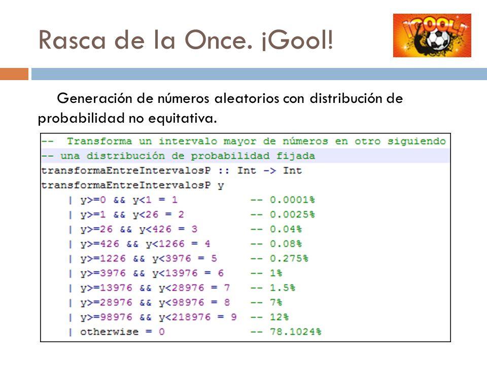 Rasca de la Once. ¡Gool! Generación de números aleatorios con distribución de probabilidad no equitativa.