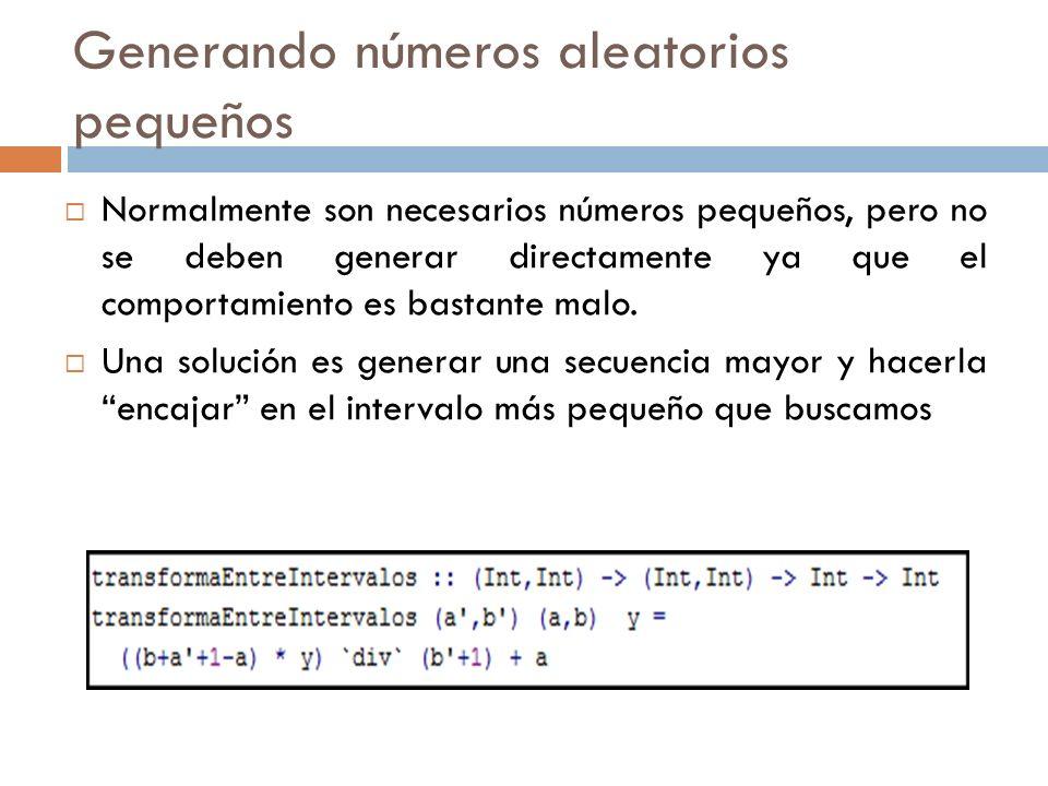 Generando números aleatorios pequeños Normalmente son necesarios números pequeños, pero no se deben generar directamente ya que el comportamiento es b