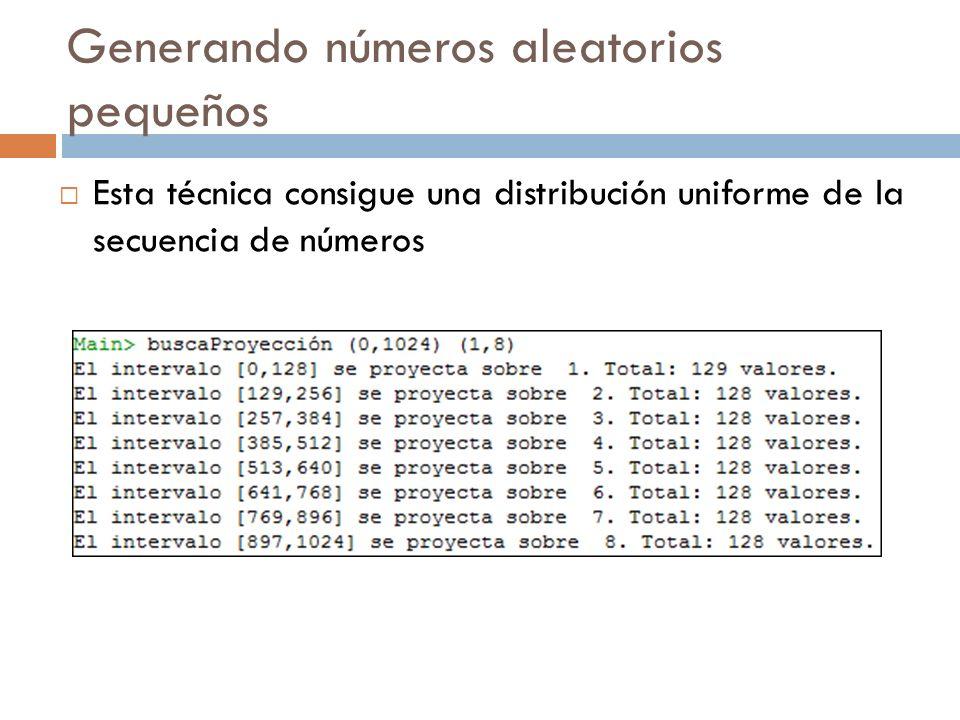 Función ListaAzar Calcula una lista pseudo-aleatoria de números dentro del intervalo argumento, conservando la función uniforme que pudiera aportar congruenciaMixta.
