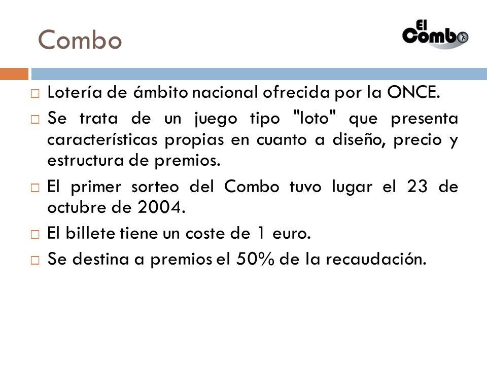 Combo Lotería de ámbito nacional ofrecida por la ONCE. Se trata de un juego tipo