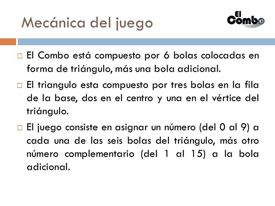 Mecánica del juego El Combo está compuesto por 6 bolas colocadas en forma de triángulo, más una bola adicional. El triangulo esta compuesto por tres b