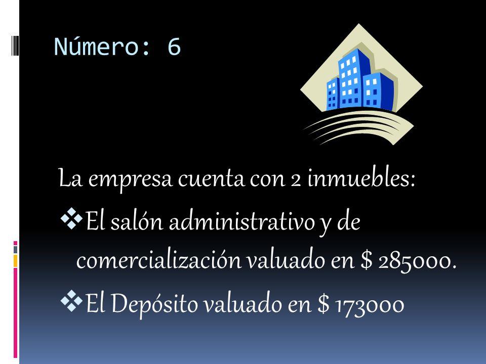 Número: 6 La empresa cuenta con 2 inmuebles: El salón administrativo y de comercialización valuado en $ 285000.