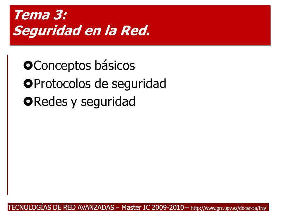 TECNOLOGÍAS DE RED AVANZADAS – Master IC 2009-2010 – http://www.grc.upv.es/docencia/tra/ Tema 3: Seguridad en la Red. Conceptos básicos Protocolos de