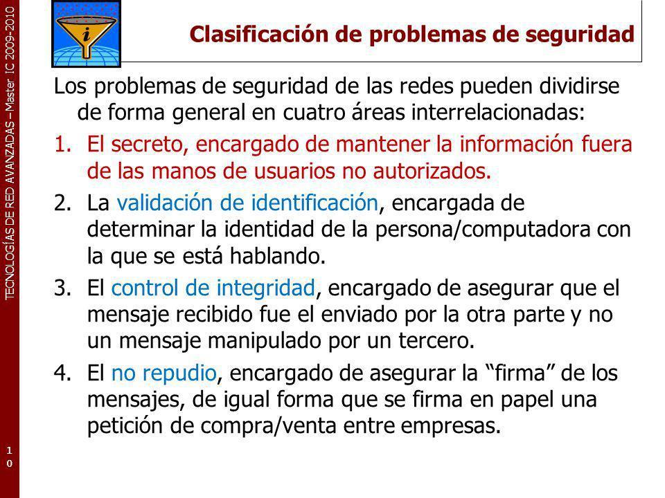 TECNOLOGÍAS DE RED AVANZADAS – Master IC 2009-2010 Clasificación de problemas de seguridad Los problemas de seguridad de las redes pueden dividirse de