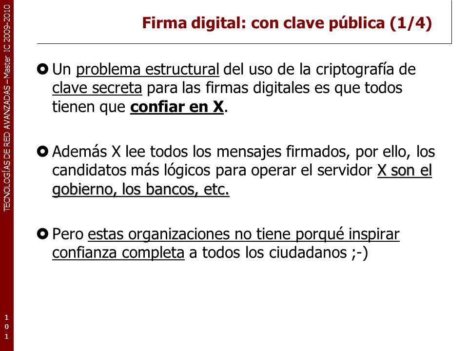 TECNOLOGÍAS DE RED AVANZADAS – Master IC 2009-2010 Firma digital: con clave pública (1/4) Un problema estructural del uso de la criptografía de clave