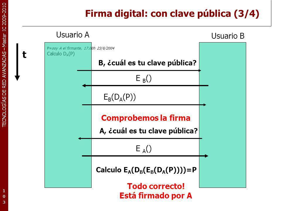 TECNOLOGÍAS DE RED AVANZADAS – Master IC 2009-2010 Firma digital: con clave pública (3/4) P=soy A el firmante, 17.00h 23/6/2004 Calculo D A (P) 103103