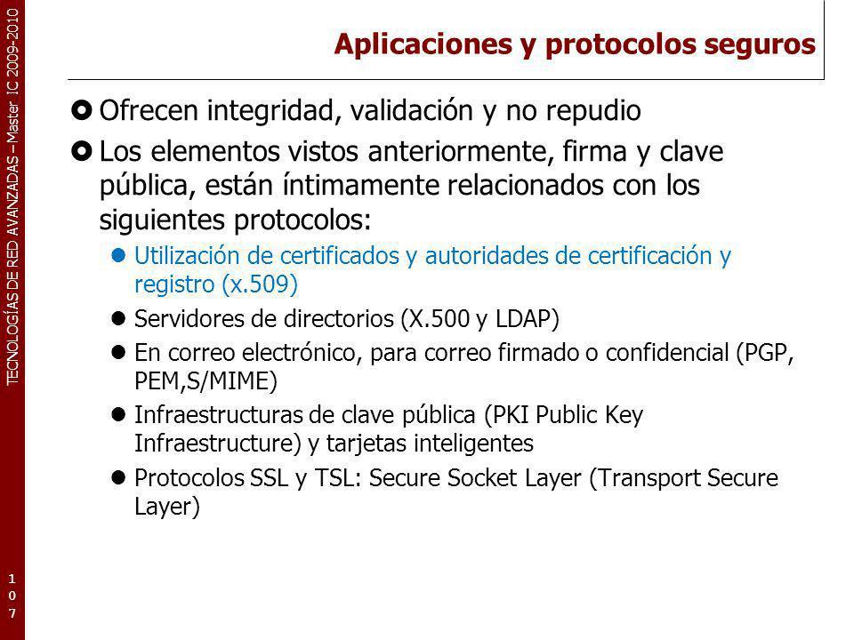 TECNOLOGÍAS DE RED AVANZADAS – Master IC 2009-2010 Aplicaciones y protocolos seguros Ofrecen integridad, validación y no repudio Los elementos vistos