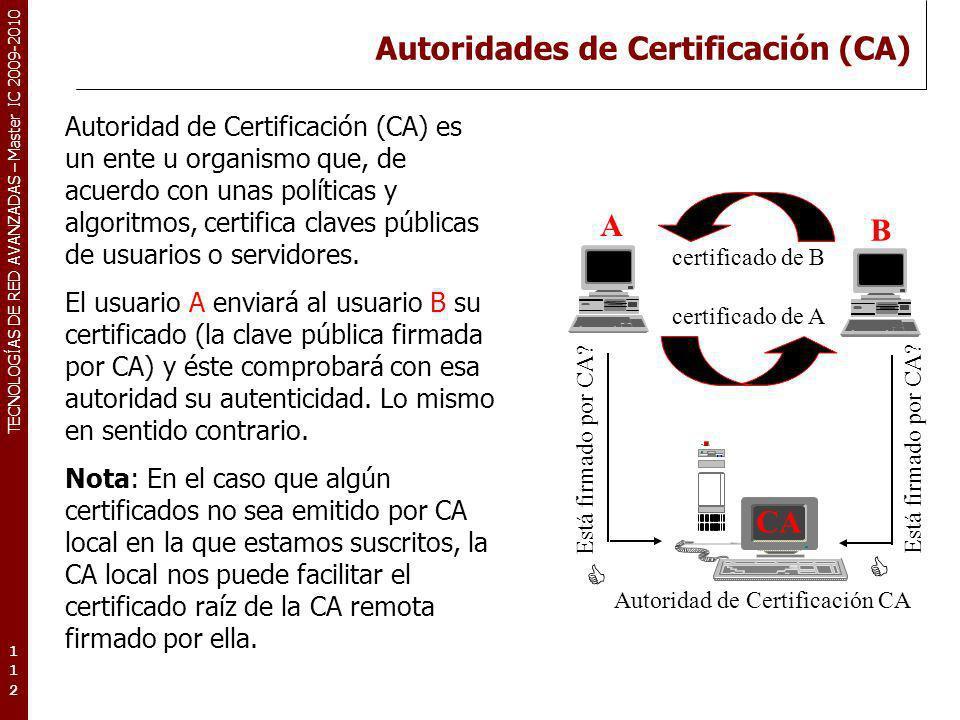 TECNOLOGÍAS DE RED AVANZADAS – Master IC 2009-2010 Autoridades de Certificación (CA) 112112112 Autoridad de Certificación (CA) es un ente u organismo