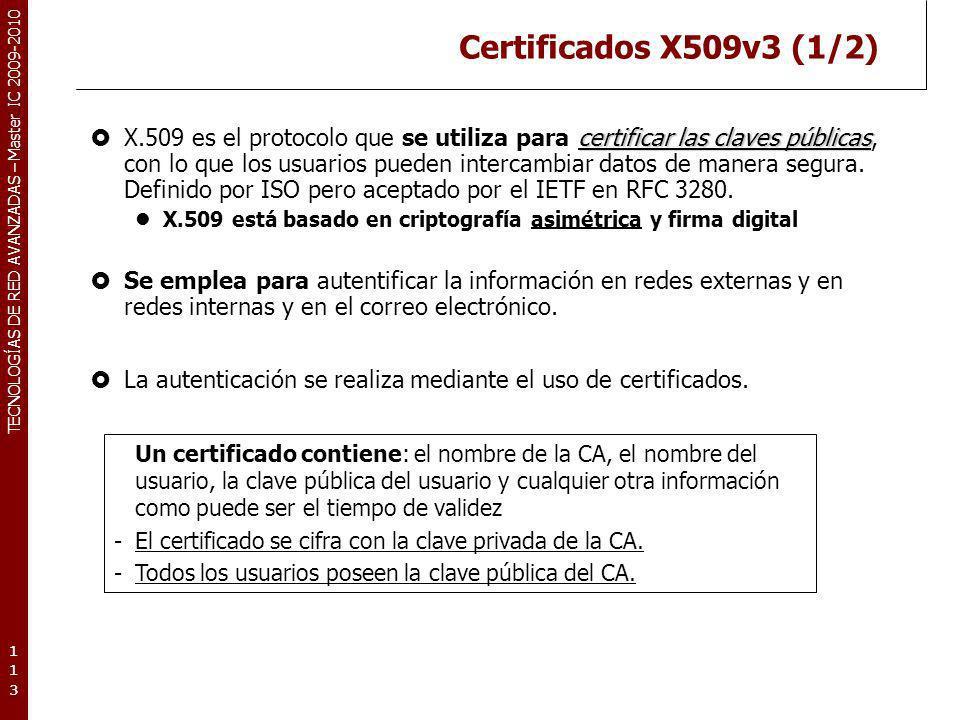 TECNOLOGÍAS DE RED AVANZADAS – Master IC 2009-2010 Certificados X509v3 (1/2) certificar las claves públicas X.509 es el protocolo que se utiliza para