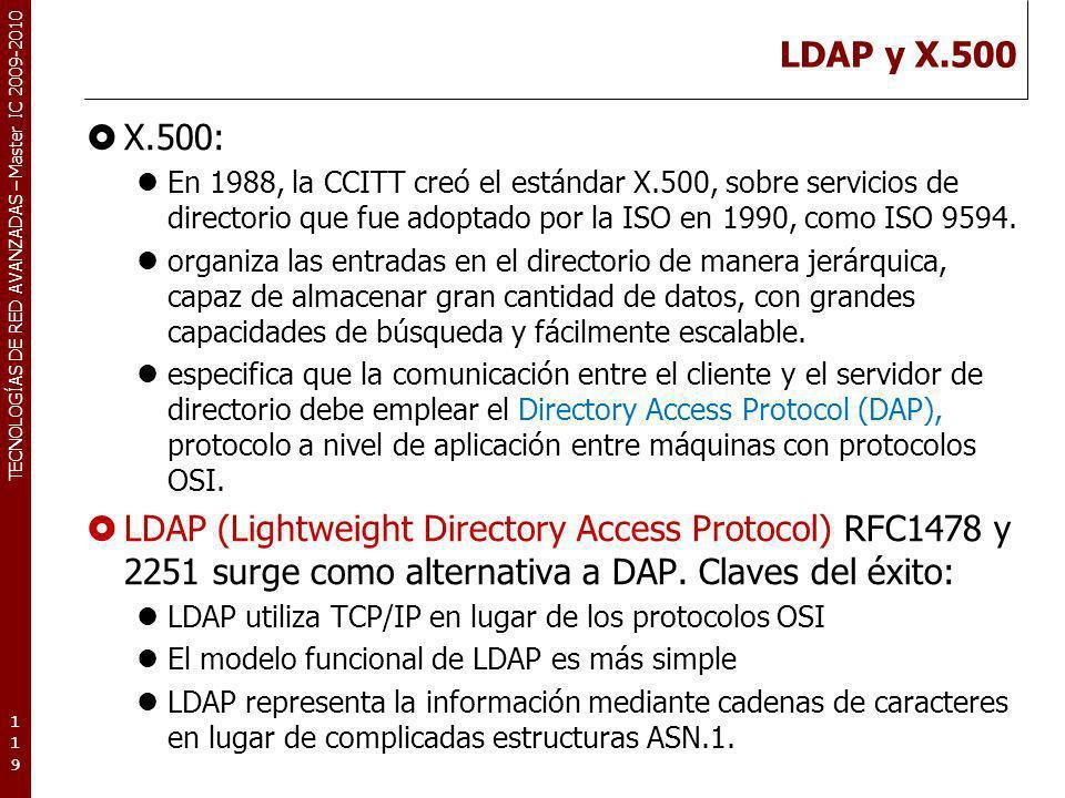 TECNOLOGÍAS DE RED AVANZADAS – Master IC 2009-2010 LDAP y X.500 X.500: En 1988, la CCITT creó el estándar X.500, sobre servicios de directorio que fue