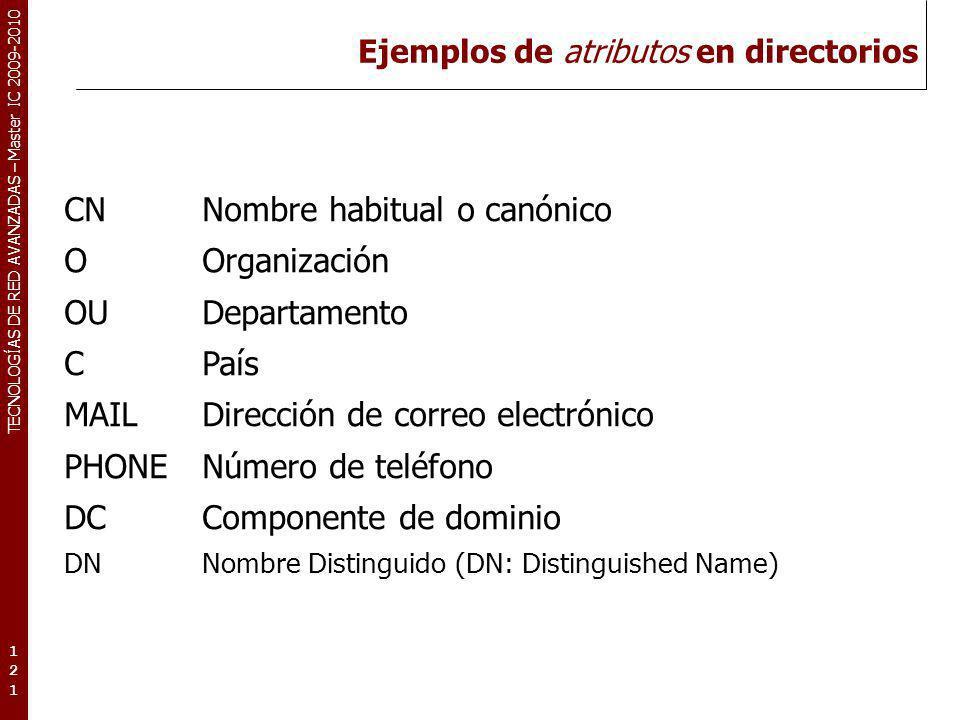 TECNOLOGÍAS DE RED AVANZADAS – Master IC 2009-2010 Ejemplos de atributos en directorios 121121121 CNNombre habitual o canónico OOrganización OUDeparta