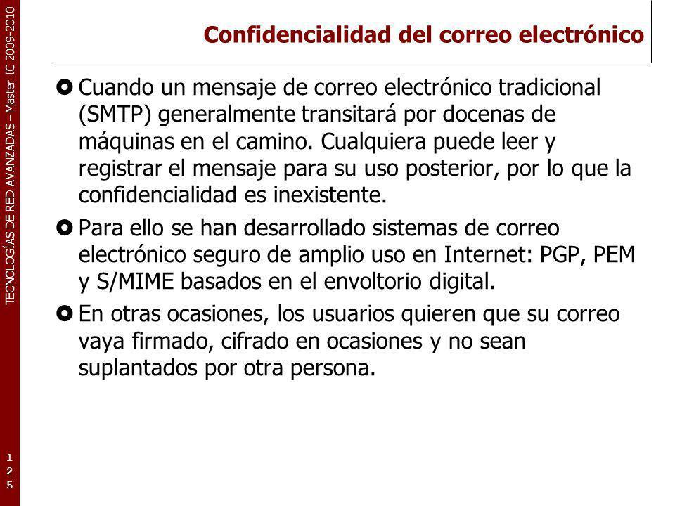 TECNOLOGÍAS DE RED AVANZADAS – Master IC 2009-2010 Confidencialidad del correo electrónico Cuando un mensaje de correo electrónico tradicional (SMTP)