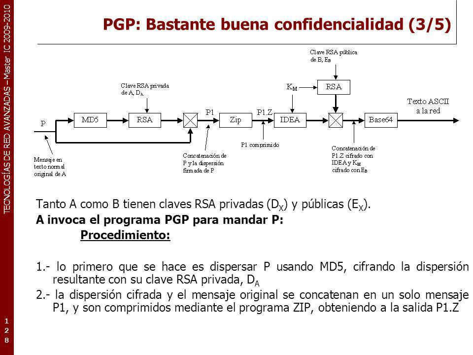 TECNOLOGÍAS DE RED AVANZADAS – Master IC 2009-2010 PGP: Bastante buena confidencialidad (3/5) 128128128 Tanto A como B tienen claves RSA privadas (D X