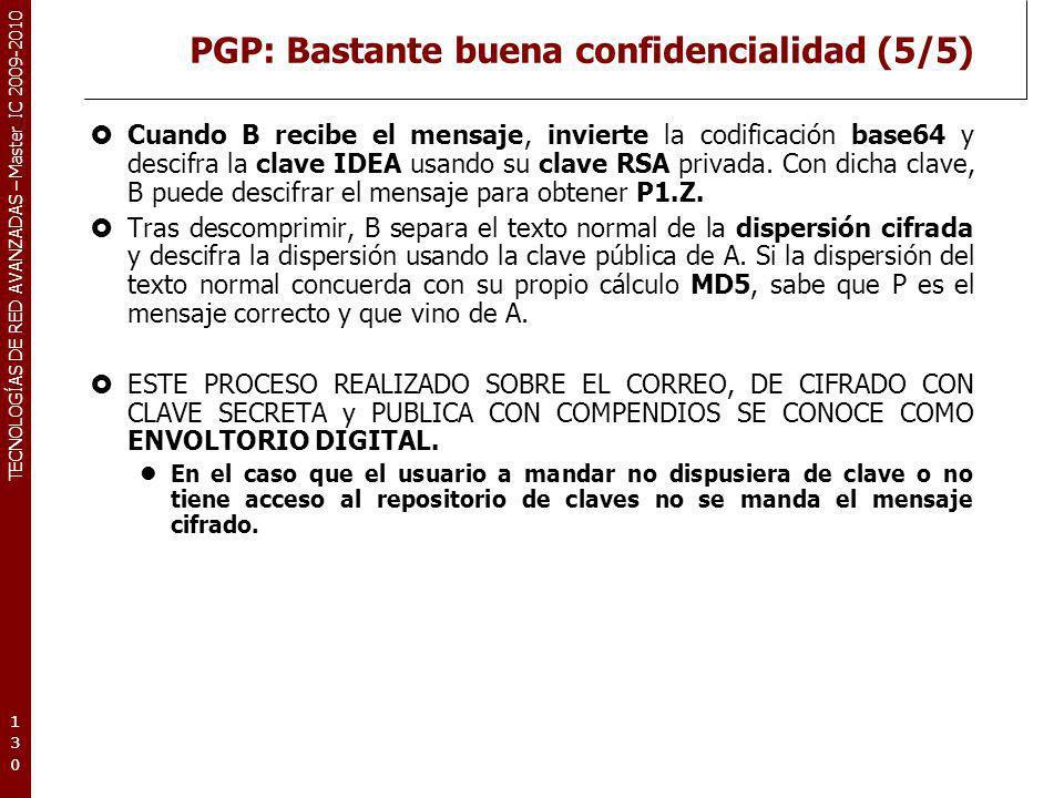 TECNOLOGÍAS DE RED AVANZADAS – Master IC 2009-2010 PGP: Bastante buena confidencialidad (5/5) Cuando B recibe el mensaje, invierte la codificación bas