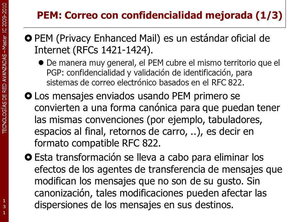 TECNOLOGÍAS DE RED AVANZADAS – Master IC 2009-2010 PEM: Correo con confidencialidad mejorada (1/3) PEM (Privacy Enhanced Mail) es un estándar oficial
