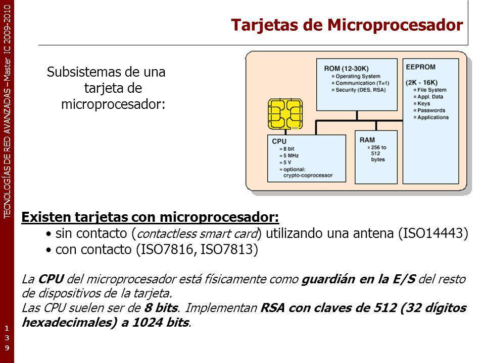 TECNOLOGÍAS DE RED AVANZADAS – Master IC 2009-2010 Tarjetas de Microprocesador 139139139 Subsistemas de una tarjeta de microprocesador: Existen tarjet