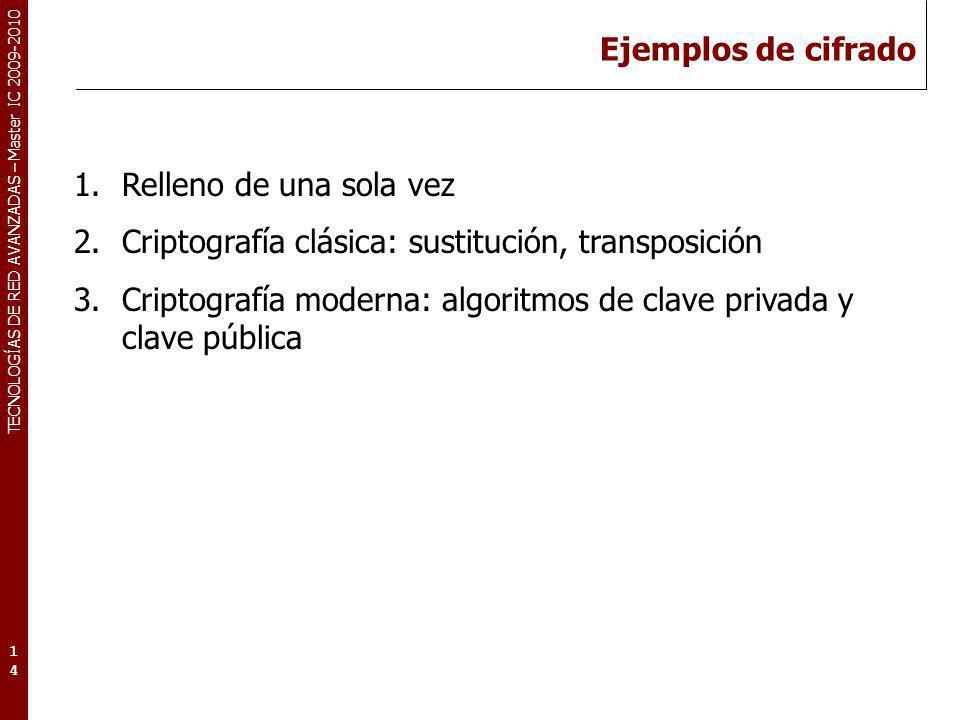 TECNOLOGÍAS DE RED AVANZADAS – Master IC 2009-2010 Ejemplos de cifrado 14 1.Relleno de una sola vez 2.Criptografía clásica: sustitución, transposición