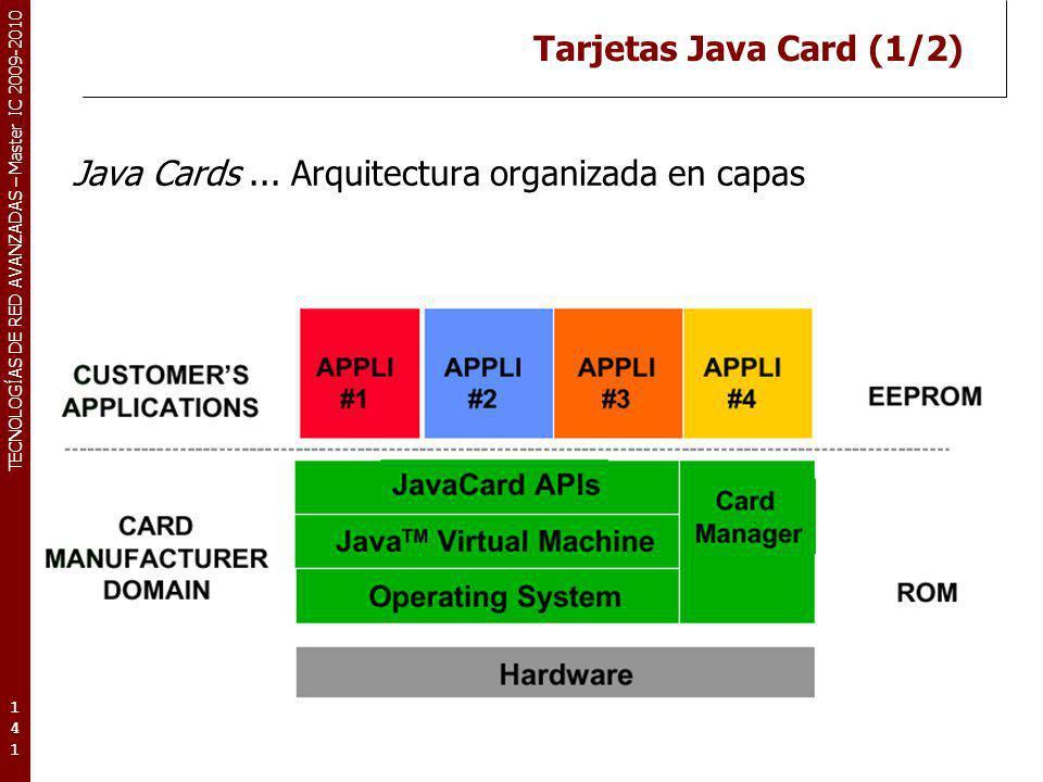 TECNOLOGÍAS DE RED AVANZADAS – Master IC 2009-2010 Tarjetas Java Card (1/2) Java Cards... Arquitectura organizada en capas 141141141