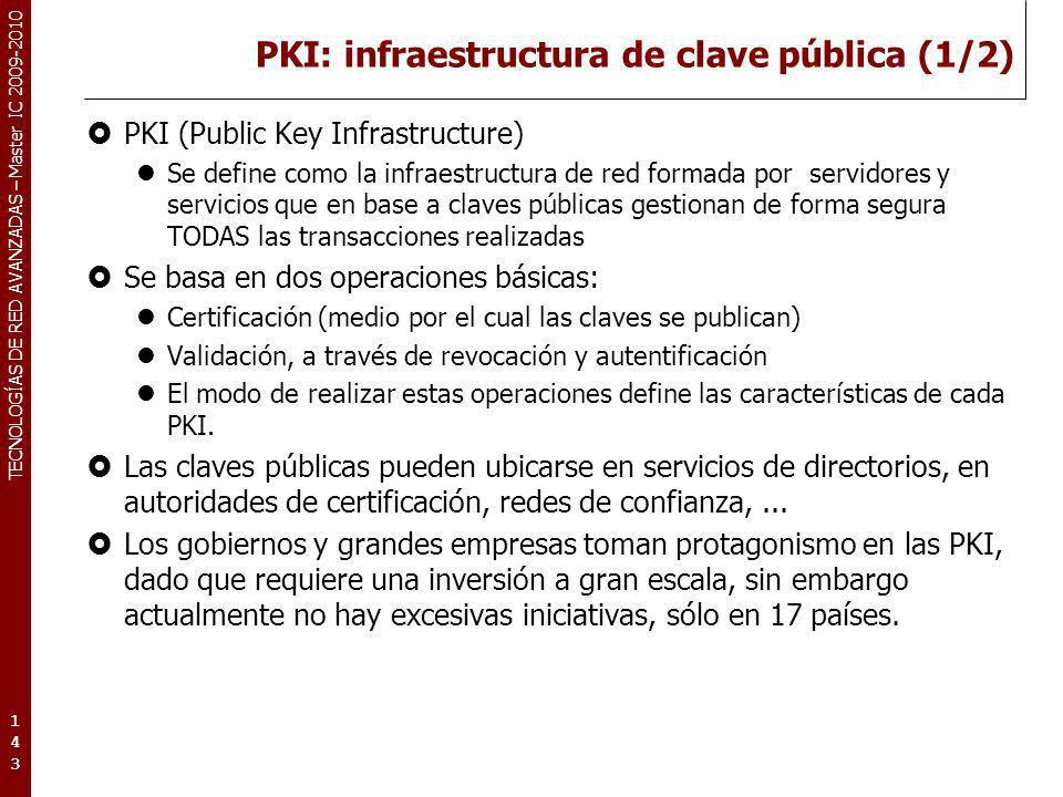 TECNOLOGÍAS DE RED AVANZADAS – Master IC 2009-2010 PKI: infraestructura de clave pública (1/2) PKI (Public Key Infrastructure) Se define como la infra