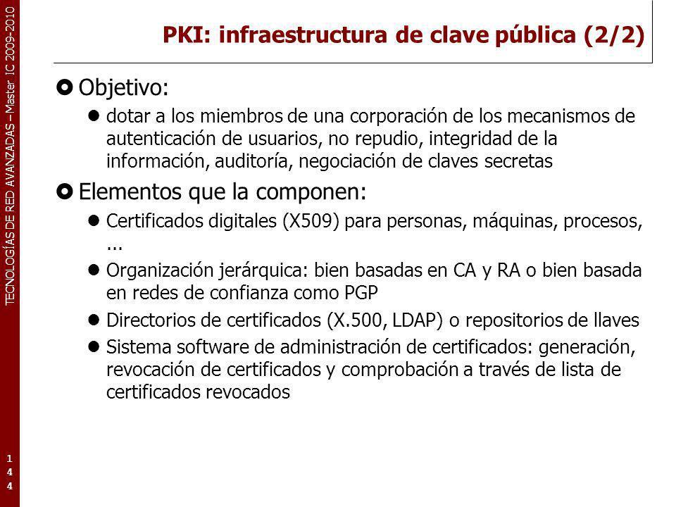TECNOLOGÍAS DE RED AVANZADAS – Master IC 2009-2010 PKI: infraestructura de clave pública (2/2) Objetivo: dotar a los miembros de una corporación de lo