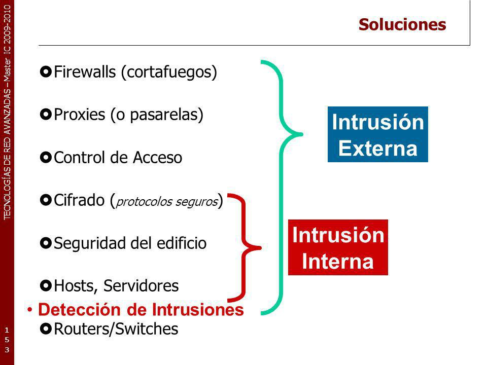 TECNOLOGÍAS DE RED AVANZADAS – Master IC 2009-2010 Soluciones Firewalls (cortafuegos) Proxies (o pasarelas) Control de Acceso Cifrado ( protocolos seguros ) Seguridad del edificio Hosts, Servidores Routers/Switches 153153153 Intrusión Interna Intrusión Externa Detección de Intrusiones