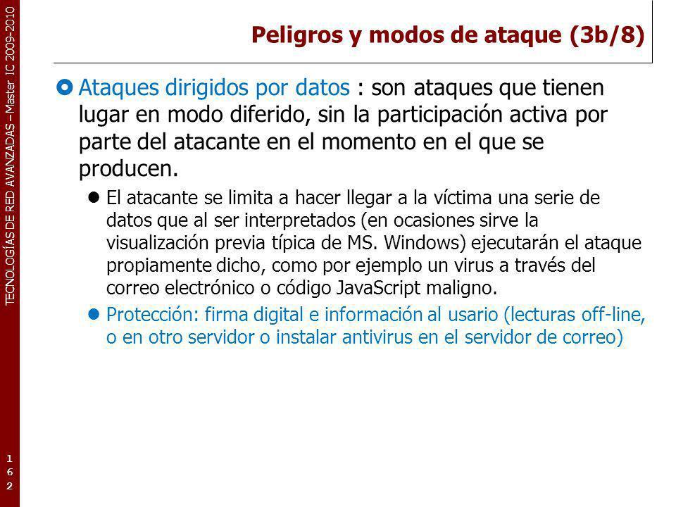 TECNOLOGÍAS DE RED AVANZADAS – Master IC 2009-2010 Peligros y modos de ataque (3b/8) Ataques dirigidos por datos : son ataques que tienen lugar en mod