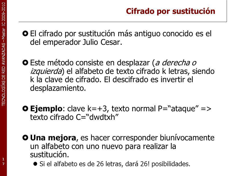 TECNOLOGÍAS DE RED AVANZADAS – Master IC 2009-2010 Cifrado por sustitución El cifrado por sustitución más antiguo conocido es el del emperador Julio C