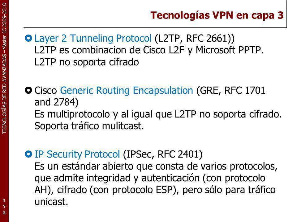 TECNOLOGÍAS DE RED AVANZADAS – Master IC 2009-2010 Tecnologías VPN en capa 3 Layer 2 Tunneling Protocol (L2TP, RFC 2661)) L2TP es combinacion de Cisco