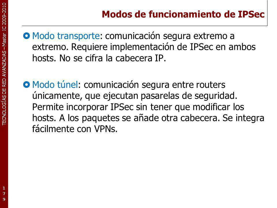 TECNOLOGÍAS DE RED AVANZADAS – Master IC 2009-2010 Modos de funcionamiento de IPSec Modo transporte: comunicación segura extremo a extremo. Requiere i